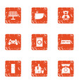 working at home icons set grunge style vector image vector image