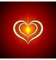 abstract bright red background with golden hearts vector image