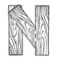 wooden letter n engraving vector image