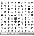 100 renovation icons set in simple style vector image vector image