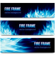 Abstract banners set with blue fire flames vector image