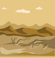 autumn in desert with sand hills and yellow grass vector image