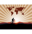 Businessman ride bicycle with worldman on mountain vector image vector image