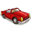 cartoon red retro car vector image vector image
