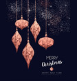 christmas and new year copper low poly card vector image vector image