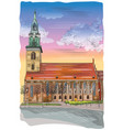 colorful church of st mary in berlin vector image vector image