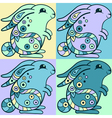 Cute bunnies in ethnic style vector image