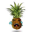 cute fresh pineapple cartoon character emotion vector image vector image