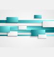 Cyan and white rectangles and stripes Tech vector image