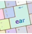 ear button on computer pc keyboard key vector image vector image