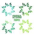 Elegant green watercolour contour floral frame vector image