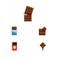 flat icon chocolate set of bitter chocolate bar vector image vector image