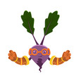 funny cartoon character beet vegetable in vector image