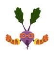funny cartoon character beet vegetable in vector image vector image
