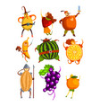 funny fruits cartoon characters set people in vector image