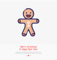 gingerbread man thin line icon vector image vector image