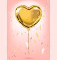 gold foil heart shape balloon confetti vector image vector image
