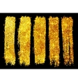 Golden glitter brush strokes set isolated on black vector image