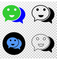 happy chat eps icon with contour version vector image