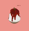 ice milk korean dessert bingsu with strawberry vector image vector image
