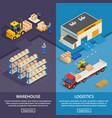 logistics and warehouse vertical banners vector image vector image