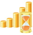money icon with hourglass and coins vector image vector image