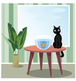 Naughty cat watching fish vector image vector image