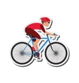 person riding bike with helmet icon vector image vector image