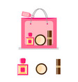 pink paper bag for cosmetics vector image vector image