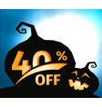 pumpkin silhouette on dark blue sky with full moon vector image vector image