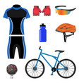 set of bicycling icons vector image vector image