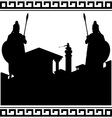 Silhouette of ancient city and guardians