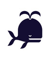stylized whale icon black color vector image vector image