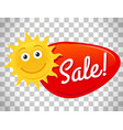 summer sale label with smiling sun vector image vector image