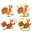 turkey bird cartoon character collection - 1 vector image vector image