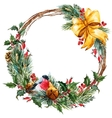 watercolor christmas wreath vector image