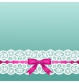 White lace and pink bow vector image vector image