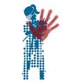 woman showing stop gesture keep distance vector image vector image