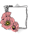 square frame with flowers at the side vector image