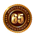 65 years anniversary golden brown label vector image
