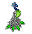 a jewelry peacock brooch with precious stones vector image vector image