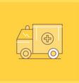 ambulance truck medical help van flat line filled vector image