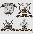 Authentic hipster logotype with lying deer vector image vector image