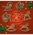 Christmas card with rocking toys horses vector image