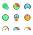 Circular gauge icons set cartoon style vector image vector image