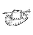 cowboy hat pierced by arrow sketch engraving vector image vector image
