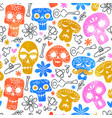 day dead watercolor skull seamless pattern vector image vector image