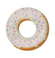 donut with white glazed and colored sparks vector image