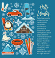 extreme mountain resort ski and snowboard winter vector image