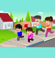 family running outdoor in a suburban neighborhood vector image
